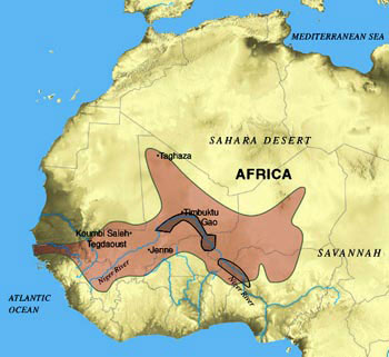 Songhai african empire 15 16th century south african history map of the kingdom of songhai it became the largest empire in african history but its enormous size eventually led to its collapse sciox Images