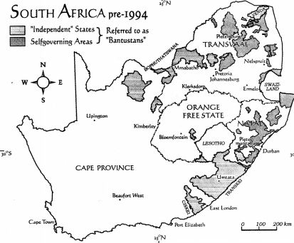 Map of South Africa pre1994 with Bantustans South African