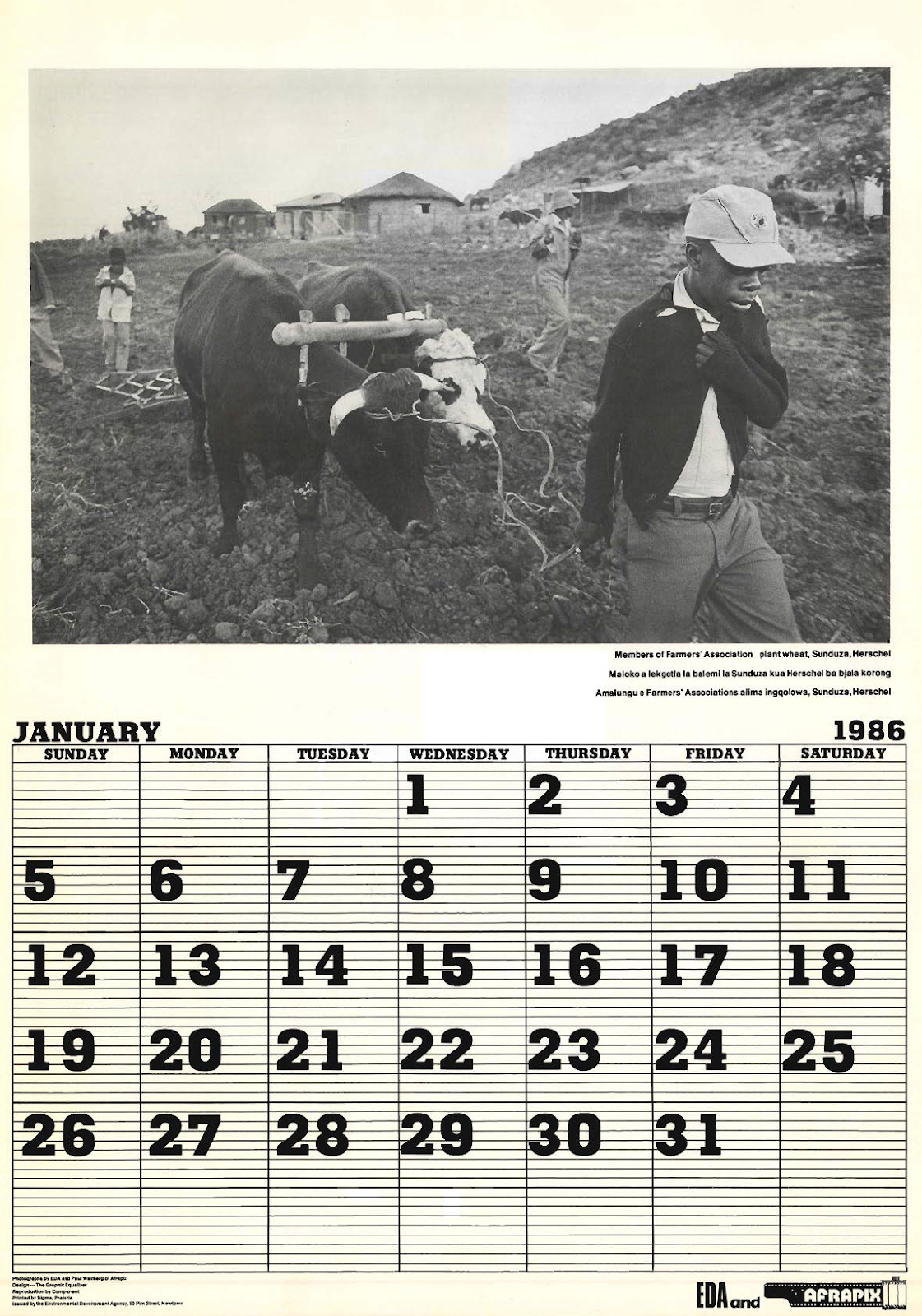 Working Together - EDA and Afrapix Calendar 1986
