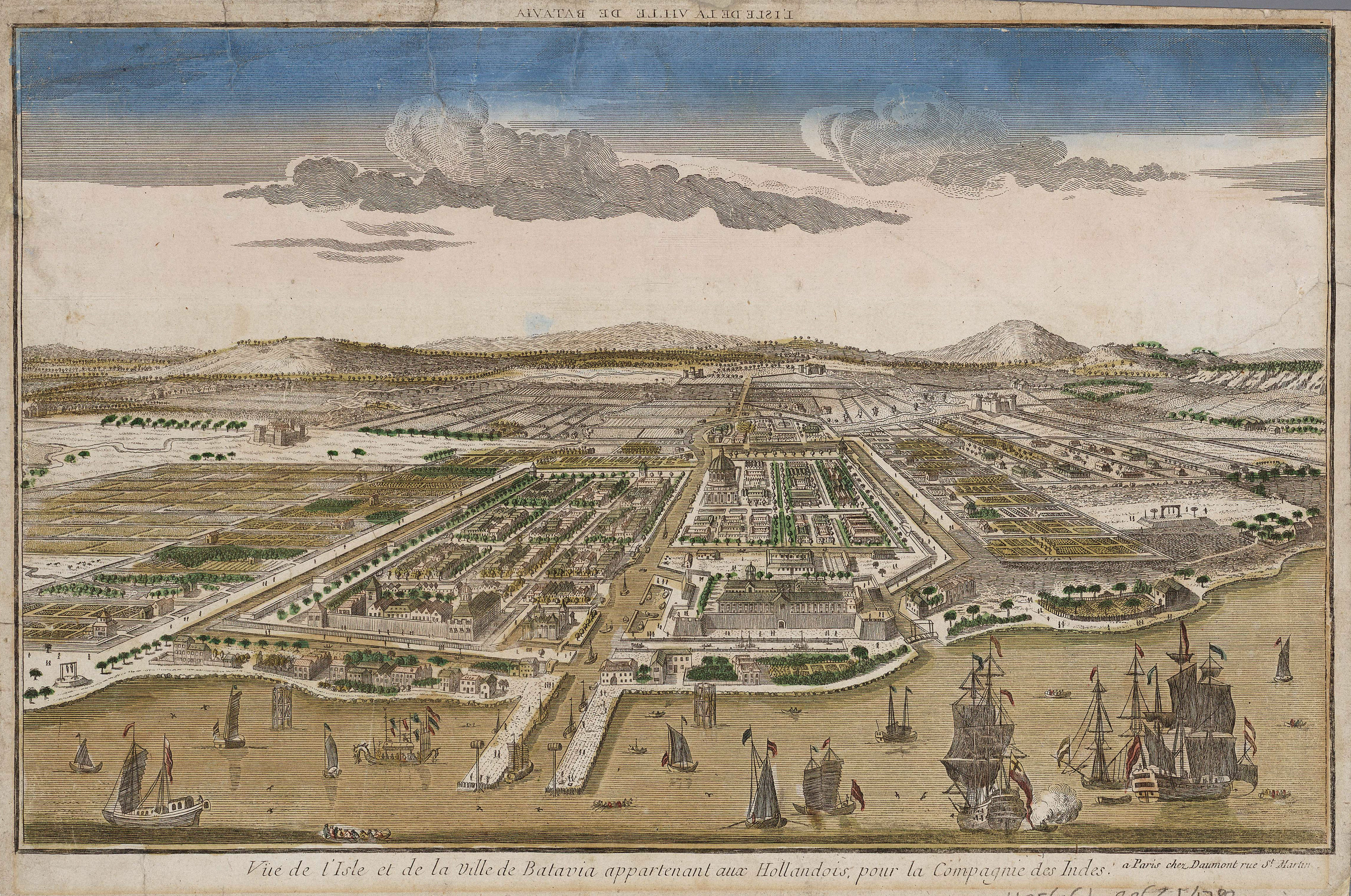 Image of Batavia, capital of the Dutch East Indies in what is now North Jakarta, circa 1780.