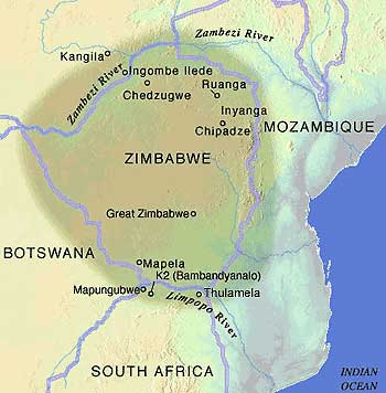 Great Zimbabwe Map Africa.Kingdoms Of Southern Africa Mapungubwe South African