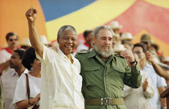 Mandela and Castro on the Moncada Barracks to celebrate the Attack on the Moncada Barracks, 26 July 1991