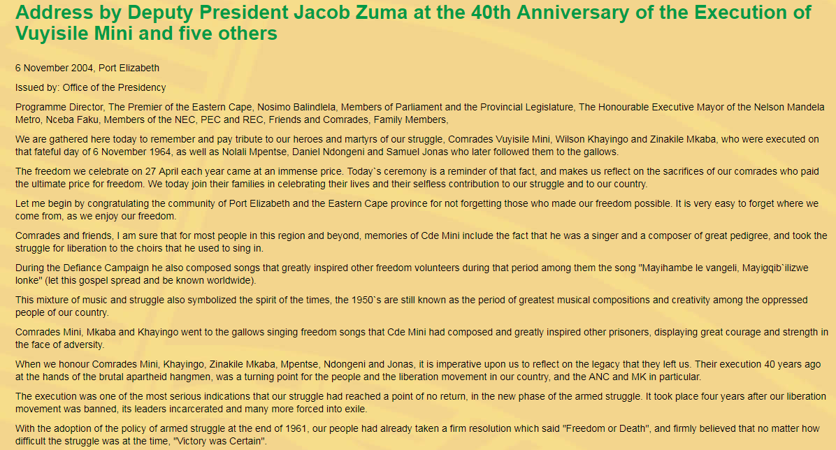 Address By Deputy President Jacob Zuma At The 40th Anniversary Of