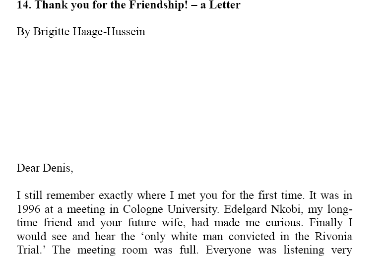 Chapter 11 thank you for the friendship a letter by brigitte haage chapter 11 thank you for the friendship a letter by brigitte haage hussein south african history online expocarfo Gallery