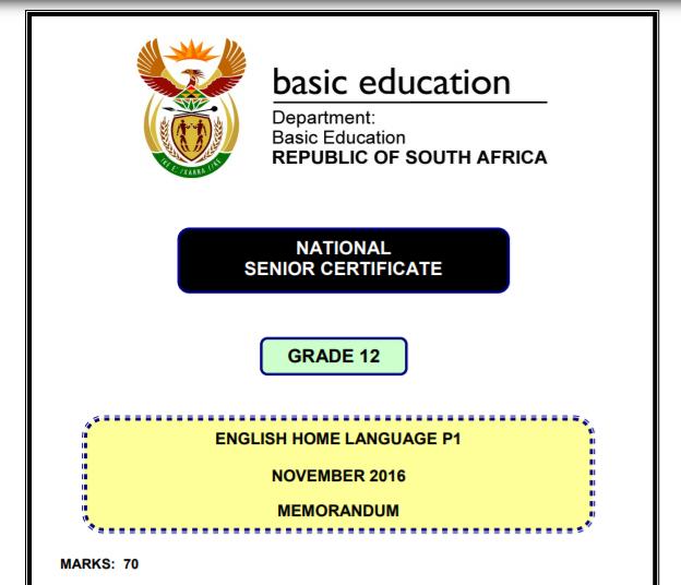 National Senior Certificate Grade 12 Memorandum English border=