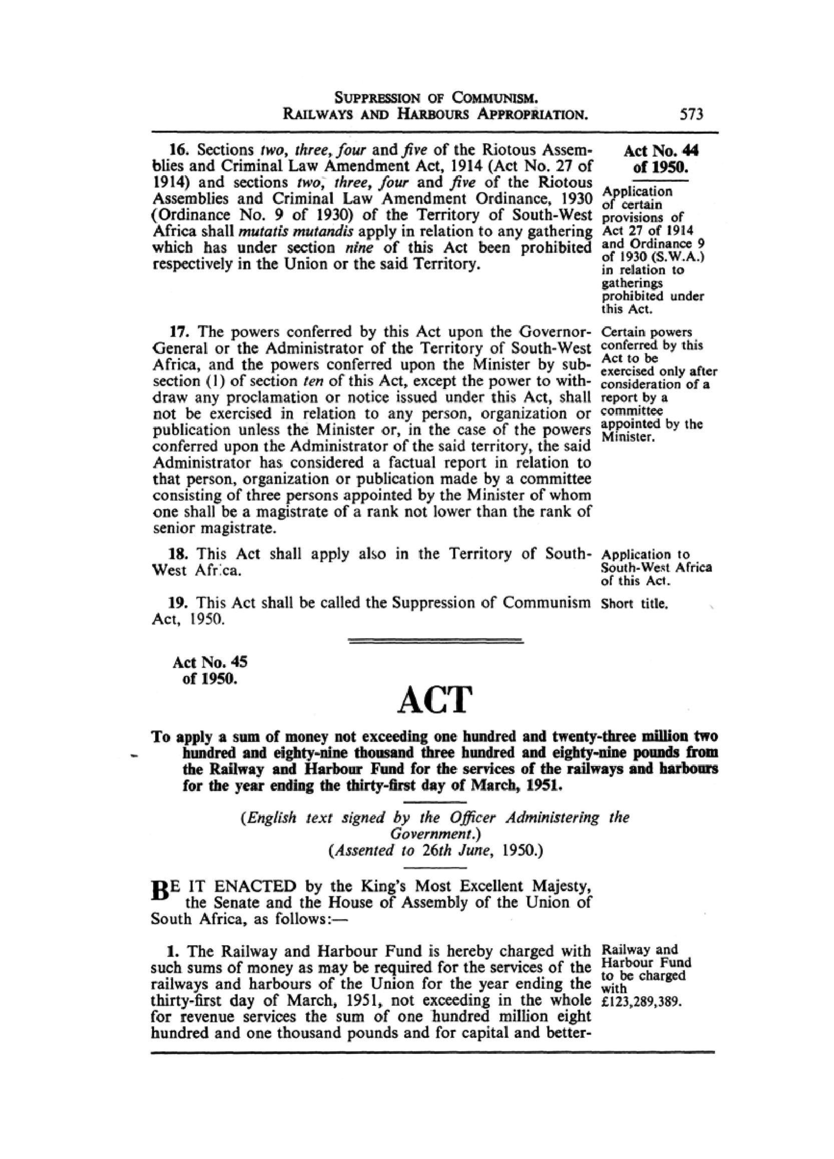 suppression of communism act no of approved in the statement condemning the first banning under the suppression of communism act