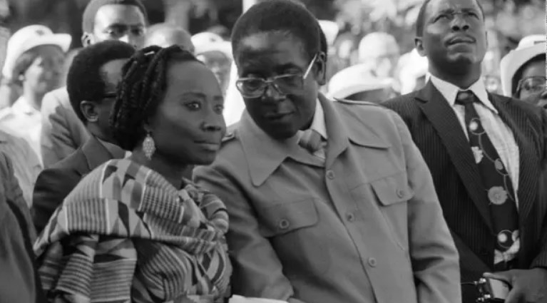 Robert Mugabe with his first wife Sally in Harare