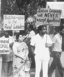 Memebers of the Natal Indian Congress protesting against the visit of PW Botha, 1980s