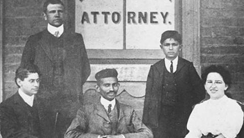 Mahatma Gandhi in his law office - Johannesburg, 1902 | South African  History Online