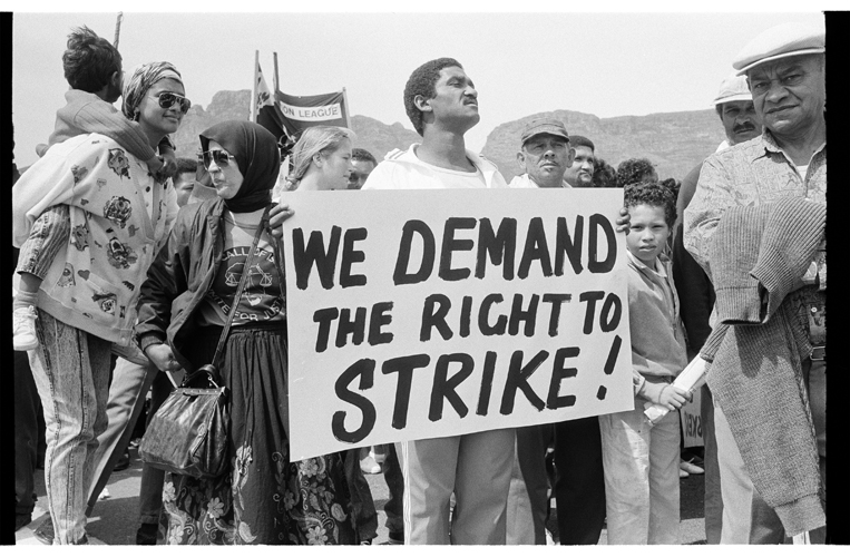 Workers demanding the right to strike