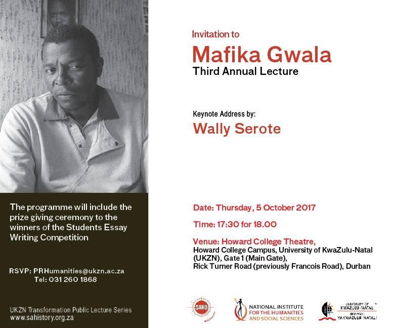 Mafika Gwala Third Annual Lecture