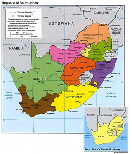 south africa map with capital cities
