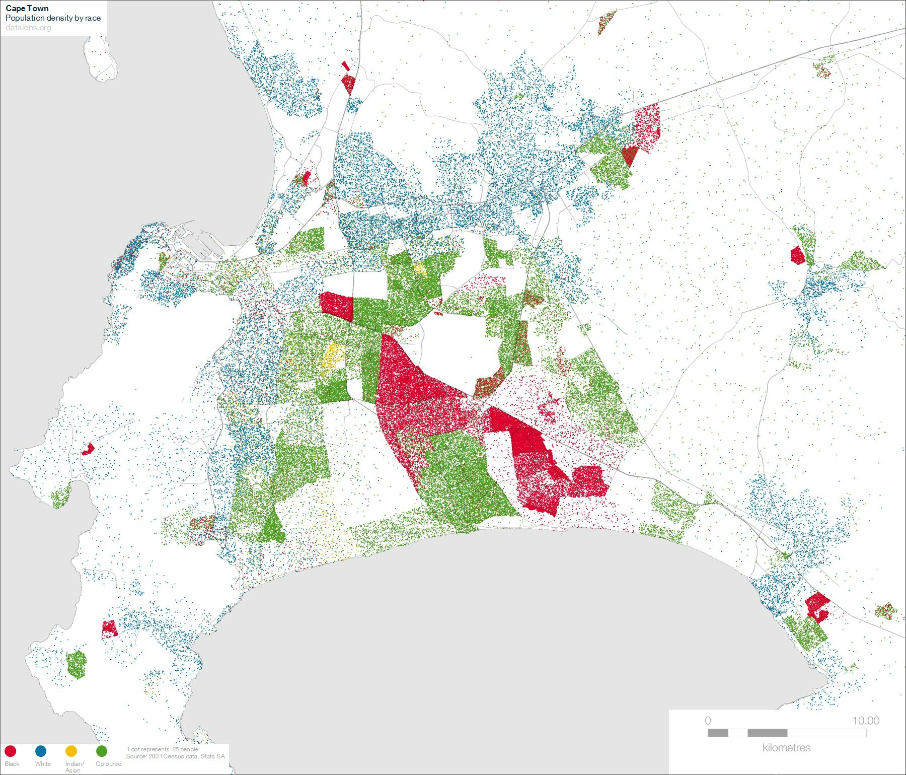Map Cape Town  Popolation Density by race  South African History