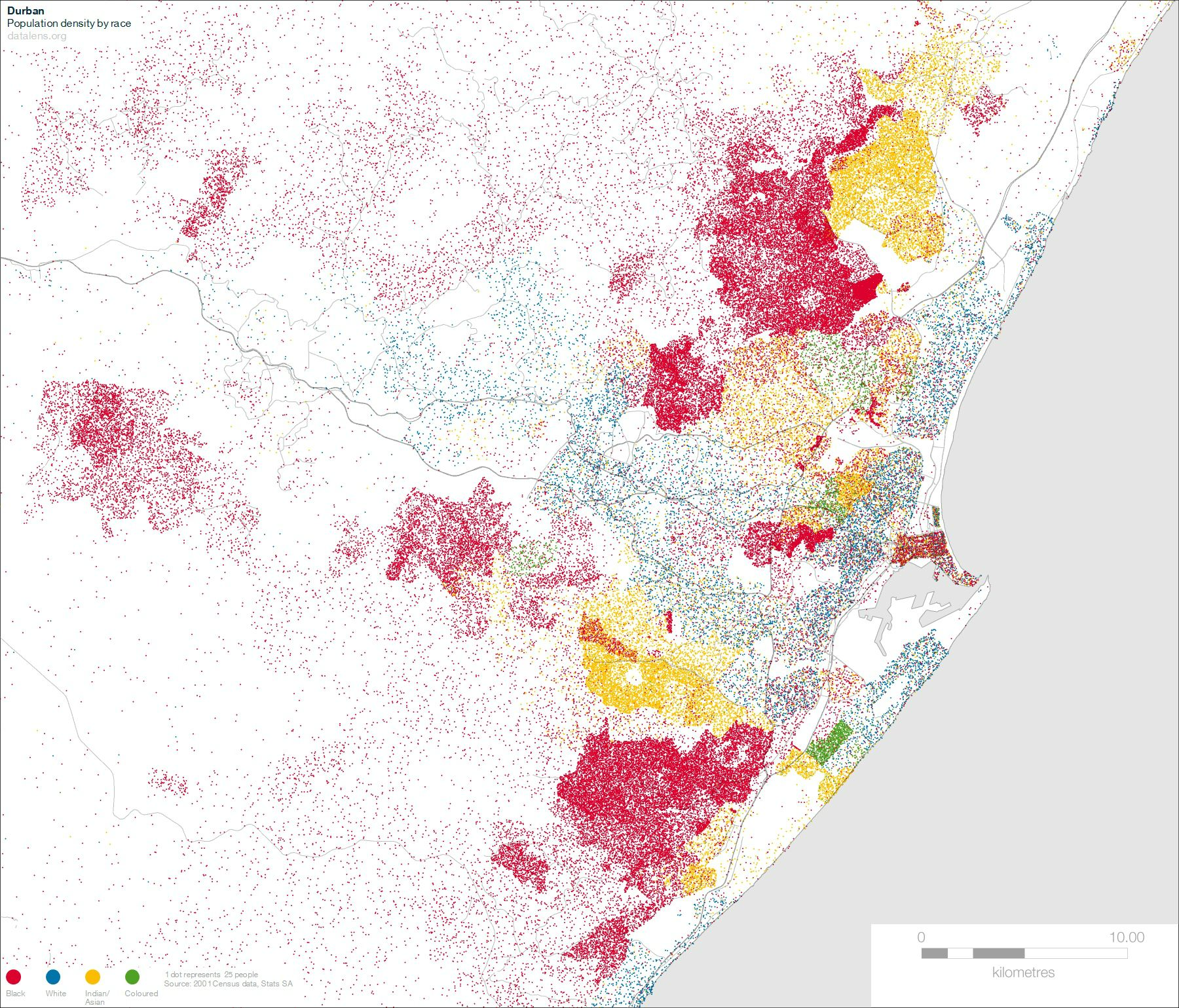 Map Durban - Potion Density by race | South African History Online on