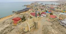 aerial view of Luderitz Bay with Felsenkirche Church which was consecrated in 1912.