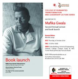 Mafika Gwala Second Annual Lecture and Book Launch
