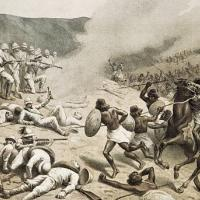 Stock Photo - The Battle of Dogali, January 26, 1887. Italian Colonialism in East Africa, 19th century. Bologna, Museo Civico Del Risorgimento (Historical Museum)