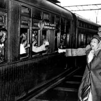 South African resistance fighters occupy train coaches reserved for whites in 1952.